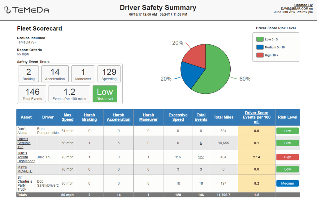 Driver Safety Summary